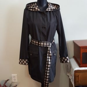 Simon Chang Belted Trench Coat Hooded Raincoat